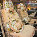 Bowknot Lace floral print Universal Automobile Car Seat Cover Cushion Plush 7pcs - Beige