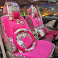 Bowknot Lace flower print Universal Automobile Car Seat Cover Cushion Plush 7pcs - Rose