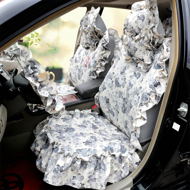 buy wholesale universal cotton hawaiian print flower folds auto car seat cover 19pcs sets grey. Black Bedroom Furniture Sets. Home Design Ideas