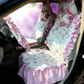 Universal Cotton flower Print Plaid Folds Auto Car Seat Cover 19pcs Sets - Purple