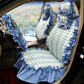 Universal Cotton flowered Print Plaid Folds Auto Car Seat Cover 19pcs Sets - Blue