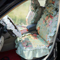 Universal Woman Pure Cotton flower Print Lace Auto Car Seat Cover 19pcs Sets - Blue
