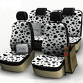 Cow Print Customized Cotton Auto Car Seat Covers 8pcs Sets for Vehicle - White