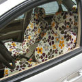 Floral Print Canvas Customized Cotton Auto Car Seat Covers 2pcs Sets for Benz Smart - Coffee