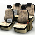 Flower Print Customized Floral Auto Car Seat Covers 8pcs Sets for Vehicle - Beige