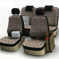 Leopard Print Customized Cotton Auto Car Seat Covers 8pcs Sets for Vehicle - Brown
