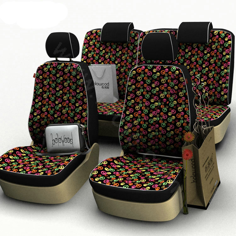 buy wholesale peace sign customized cotton auto car seat covers 8pcs sets for vehicle red from. Black Bedroom Furniture Sets. Home Design Ideas