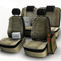 Tiger Print Customized Cotton Auto Car Seat Covers 8pcs Sets for Vehicle - Brown