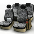Zebra Print Customized Cotton Auto Car Seat Covers 8pcs Sets for Vehicle - White