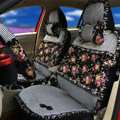 Ayrg Floral print Lace Universal Auto Car Seat Cover Ice Silk Full Set 19pcs - Black