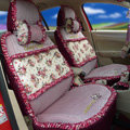 Ayrg Floral print Lace Universal Auto Car Seat Cover Ice Silk Full Set 19pcs - Rose red