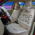 Ayrg Flower print Lace Universal Auto Car Seat Cover Ice Silk Full Set 19pcs - Beige