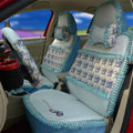 Ayrg Flower print Lace Universal Auto Car Seat Cover Ice Silk Full Set 19pcs - Blue