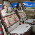 Ayrg Flower print Lace Universal Auto Car Seat Cover Ice Silk Full Set 19pcs - Coffee