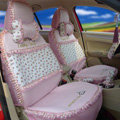 Ayrg Flower print Lace Universal Auto Car Seat Cover Ice Silk Full Set 19pcs - Pink
