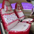 Ayrg Flower print Lace Universal Auto Car Seat Cover Ice Silk Full Set 19pcs - Red