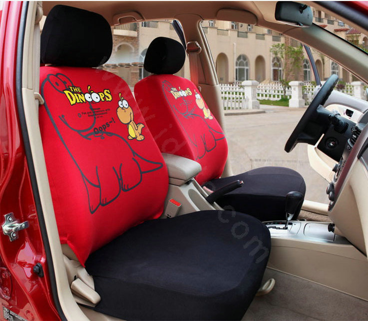 buy wholesale universal cotton dinosaur print auto car seat cover 10pcs sets red black from. Black Bedroom Furniture Sets. Home Design Ideas