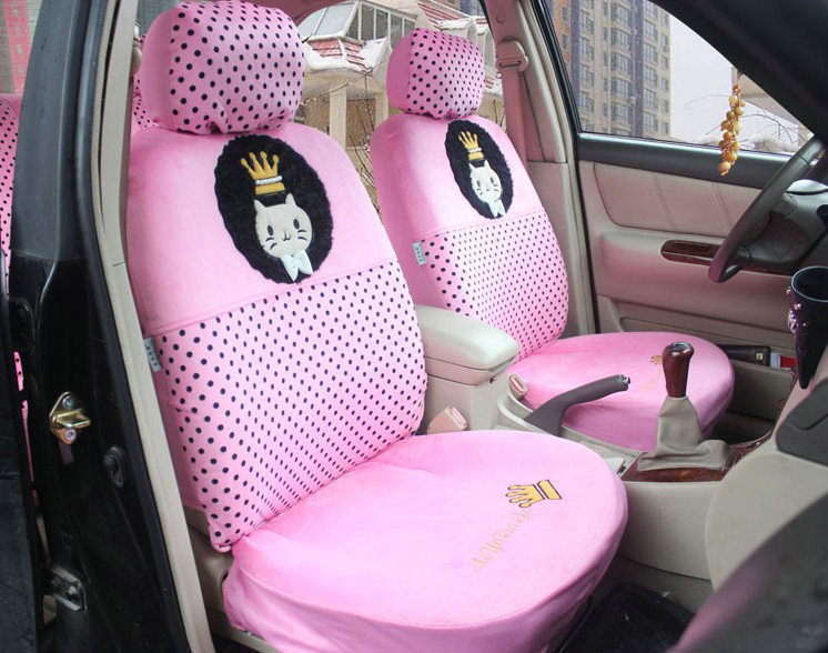 buy wholesale universal velvet crown cats polka dots print car seat cover 18pcs sets pink car. Black Bedroom Furniture Sets. Home Design Ideas