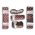 Good Polka Dot Lace Synthetic Fiber Automotive Interior Car Decoration 5pcs Sets - Brown