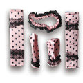 Good Polka Dot Lace Synthetic Fiber Automotive Interior Car Decoration 5pcs Sets - Pink