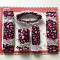 Good Polka Dot Lace Synthetic Fiber Automotive Interior Car Decoration 5pcs Sets - Rose