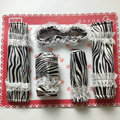 Good Zebra Print Lace Synthetic Fiber Automotive Interior Car Decoration 5pcs Sets - White