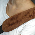 Inexpensive Furry Velvet Automotive Seat Safety Belt Covers Car Decoration 2pcs - Brown