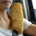 Inexpensive Furry Velvet Automotive Seat Safety Belt Covers Car Decoration 2pcs - Yellow