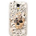 Bling Skull Crystal Cover Rhinestone Diamond Case For Samsung Galaxy S5 i9600 - White