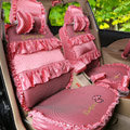 Fashion Bowknot Polka Dot Ice Silk Bud Silk Universal Auto Car Seat Cover Sandwich 26pcs Sets - Pink