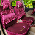 Luxury Bowknot Polka Dot Ice Silk Bud Silk Universal Auto Car Seat Cover Sandwich 26pcs Sets - Rose