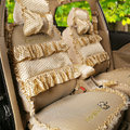Princess Bowknot Polka Dot Ice Silk Bud Silk Universal Auto Car Seat Cover Sandwich 26pcs Sets - Beige