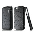 IMAK Ostrich Series leather Case holster Cover for iPhone 6 - Black