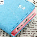 IMAK cross leather case Button holster holder cover for iPhone 6 - Blue