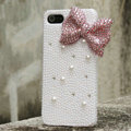 Bling Bowknot Rhinestone Crystal Cases Pearls Covers for iPhone 6 Plus - Pink