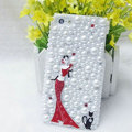 Bling Pretty girl Crystal Cases Rhinestone Pearls Covers for iPhone 6 Plus - Red