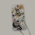 Bling S-warovski crystal cases Flower diamond covers for iPhone 6 Plus - White