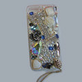 Bling S-warovski crystal cases Flowers diamond cover for iPhone 6 Plus - White