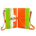 IMAK Tit color holster Wallet leather case cover for iPhone 6 Plus - Green Orange