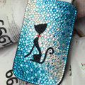 Luxury Bling Holster Covers Cat Crystal diamond Cases for iPhone 6 Plus - Blue