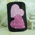 Luxury Bling Holster Covers Heart Crystal diamond Cases for iPhone 6 Plus - Black