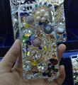 S-warovski crystal cases Flower diamond Bling cover skin for iPhone 6 Plus - White