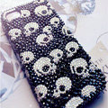 Skull diamond Crystal Cases Luxury Bling Hard Covers for iPhone 6 Plus - Black