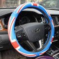 Personalised British Flag Green Latex Rubber Auto Car Steering Wheel Covers 15 inch 38CM - Blue