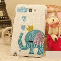 Bling Elephant Crystal Cases Pearls Cover for Samsung Galaxy Note 4 N9100 - Blue