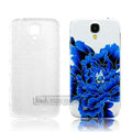 IMAK Painting Relievo Case Flower Battery Cover for Samsung Galaxy Note 4 N9100 - Blue