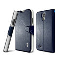 IMAK R64 lines leather Case support Holster Cover for Samsung Galaxy Note 4 N9100 - Dark blue