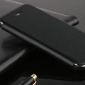 Classic Aluminum Bracket Holster Genuine Flip Leather Covers for iPhone 6 Plus 5.5 - Black
