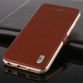 Classic Aluminum Bracket Holster Genuine Flip Leather Shell for iPhone 6 Plus 5.5 - Brown