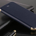 Classic Aluminum Support Holster Genuine Flip Leather Covers for iPhone 6 Plus 5.5 - Blue